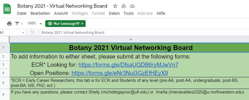 Virtuelles Netzwerk-Board für Botanik